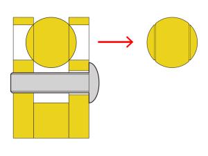 真鍮関節への溝つき